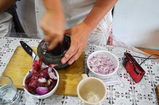 crushing the onions