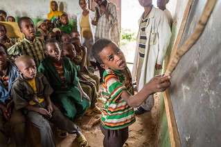 Pupils attend a class at Tutis Primary School in Oromia State of Ethiopia