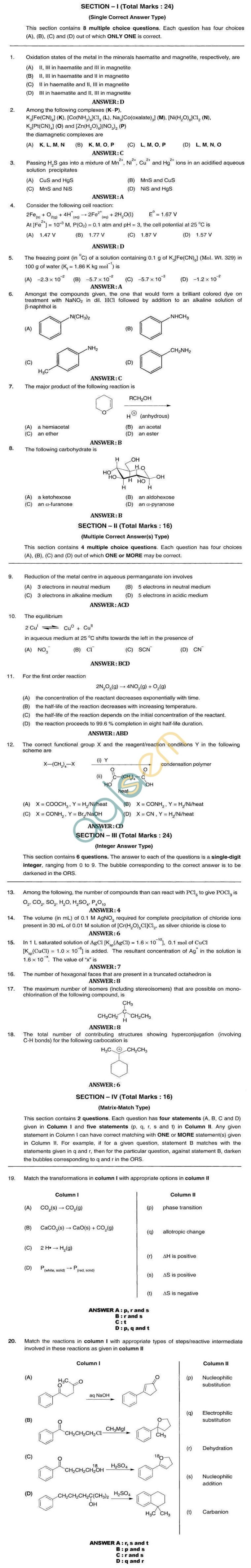 JEE Advanced 2017 Chemistry Practice Papers