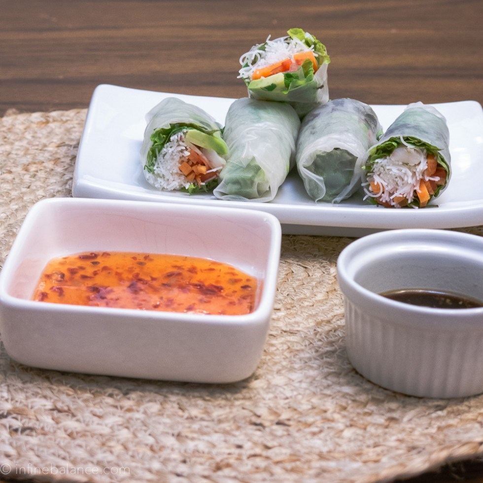 easy spring rolls with veggies and two dipping sauces