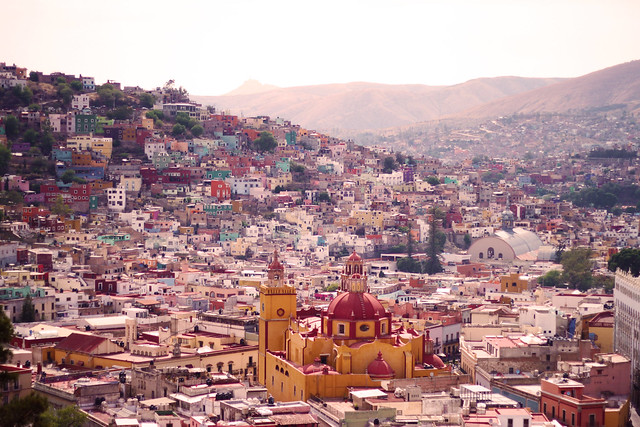 A rooftop view of downtown Guanajuato, Mexico.