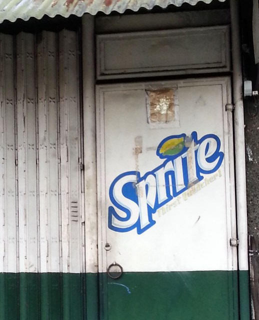 sprite logo drawn on a wall 2