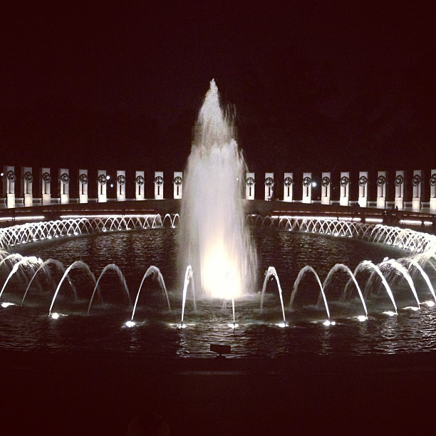 Visiting the monuments at night. Such a perfect evening! Gorgeous weather, great company...
