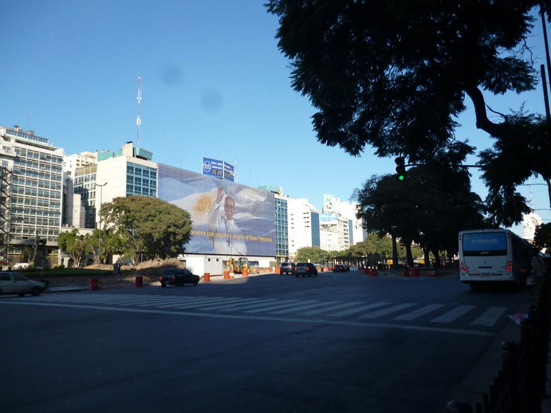 See that big poster of an Argentinine flag and the pope? It's from the city, to celebrate Papa Francesco's new job.