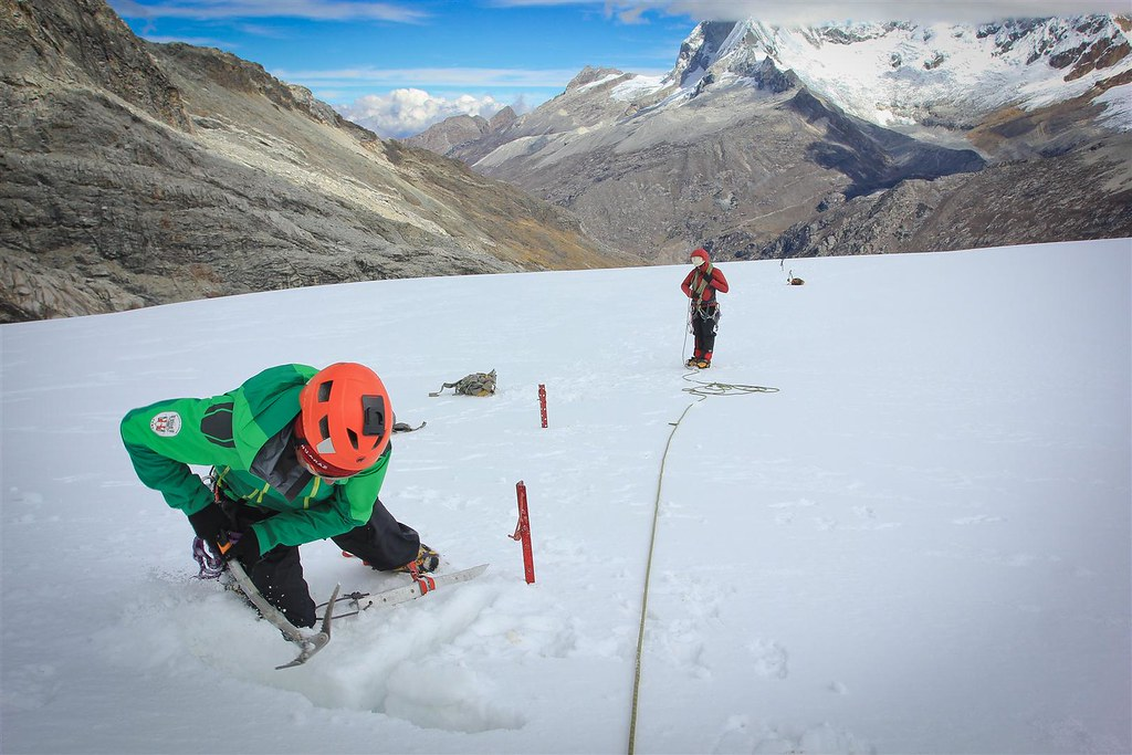 Make an anchor! Crevasse rescue training on the flanks of Yanapaccha (5460m). Cordillera Blanca. Peru.