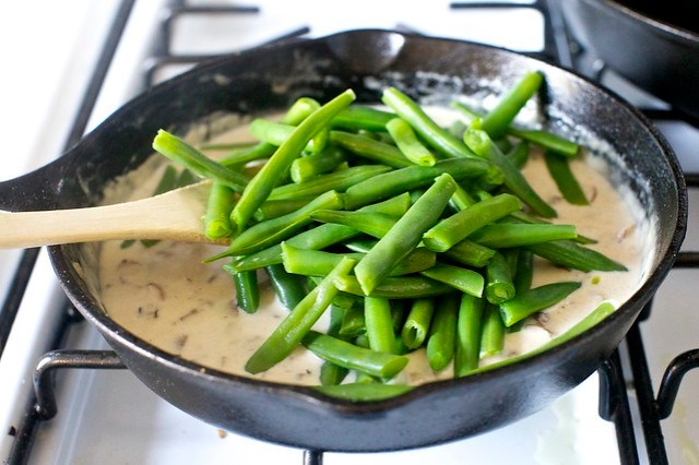 adding the green beans