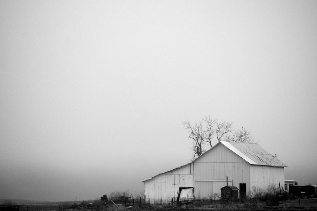 Foggy Winter Barn