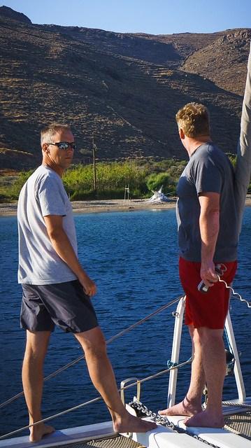 Dropping anchor in the bay at Kythnos