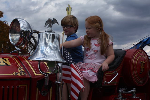 The vintage fire engines were beautiful