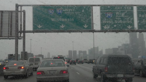 Driving in Chicago in Snow