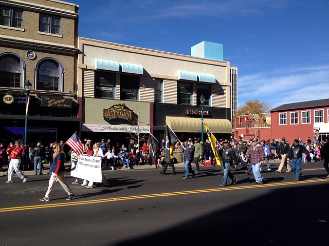 Veteran's Group Marches In Downtown Colorado Springs