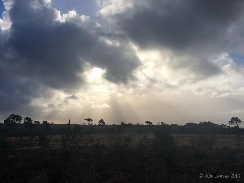 The sun breaks through over Canford Heath