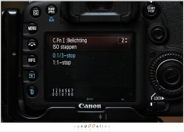 Custom menu EOS 7D: ISO stappen