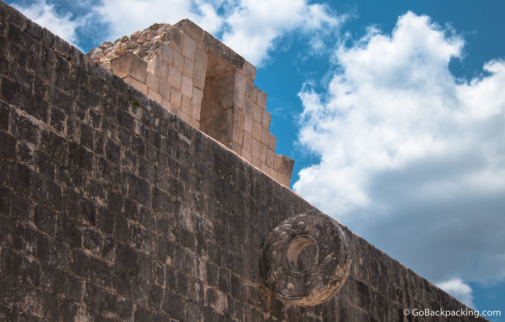 Rings carved in the shapes of intertwined serpents are built high up on each of the side walls of the Great Ball Court