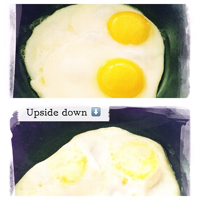 19/1/2014 - upside down {breakfast; over easy!} #photoaday #eggs #upsidedown #breakfast #picframe #hipstamatic #melodie #dreamcanvas