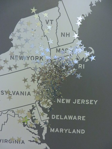 Where is your Hometown? map at American Made 2013. Jersey Represents!