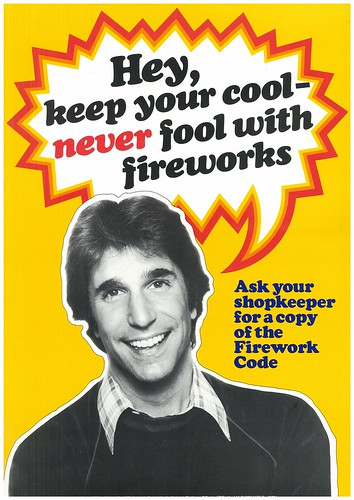 Firework Safety poster featuring the Fonz
