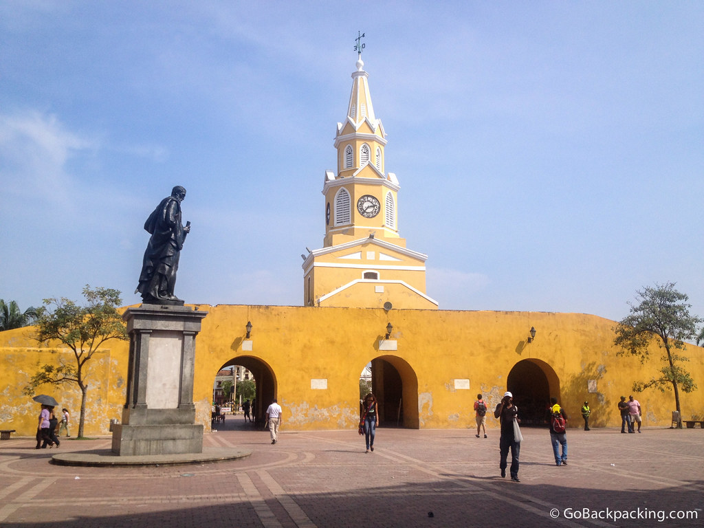 The clock tower entrance to Cartagena's Old City
