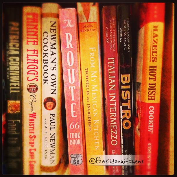 "June 20 - 3rd shelf from the top; 4th book from the right {that would be Diana Kenndy's ""From my Mexican Kitchen""} I have a ton of cookbooks! #photoaday #book #cookbook #titlefx #bookcase #food"