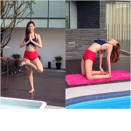 Charmaine Lee - yoga by the pool