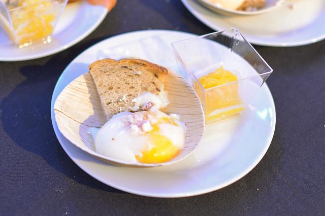 Campanile LAX grand marnier cured salmon, olive oil blini, 62 degree egg; mimosa granita