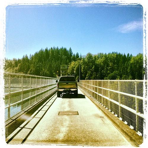 Single lane traffic over The Baker Lake Dam by @MySoDotCom