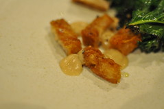 detail: Burnt kale, chicken skin, almond