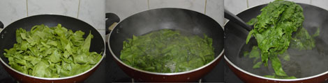 cooking spinach leaves