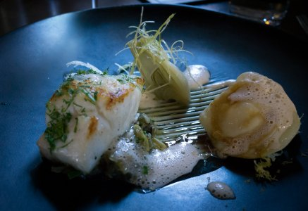 Course 4 - Pan fried King Clip, roasted cauiflower ravioli, fennel salad