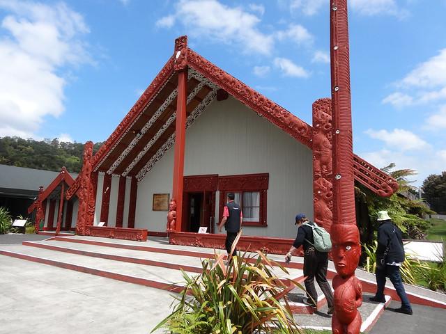 Marae or Maori meeting house in Whakarewarewa park Rotorua.