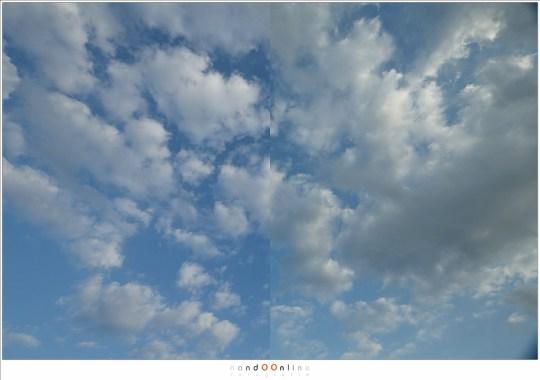 Het kleurverschil van de Landscape Polariser. Het is subtiel, maar aanwezig. Bij het filter in plaats is de polarisatie minimaal gehouden.