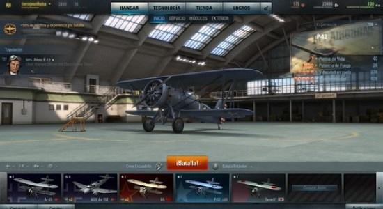 Hangar de aviones de World of Warplanes