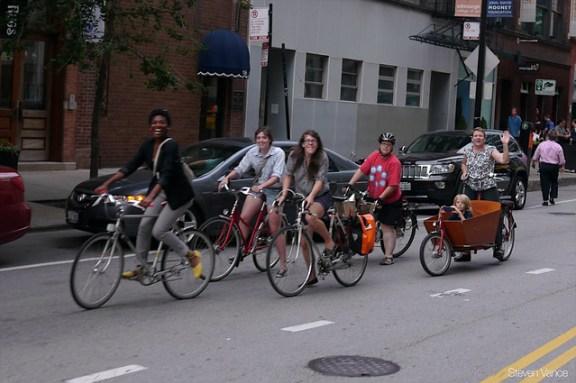 Women biking in Chicago