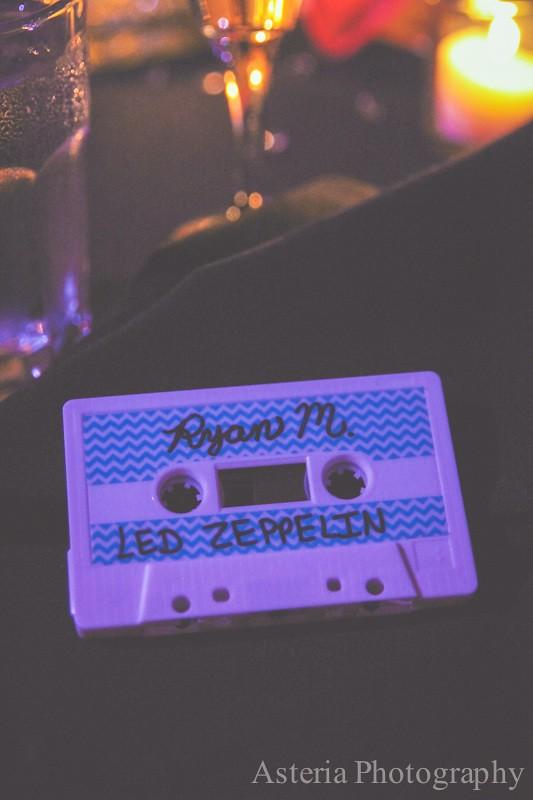"Cassette tape ""escort cards"""