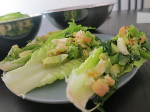 Avocado, shrimp and egg lettuce wraps