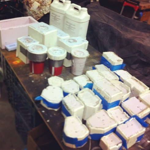 30 molds, 4 gallons of resin, gynoid dolls and drab future toys ready to cast