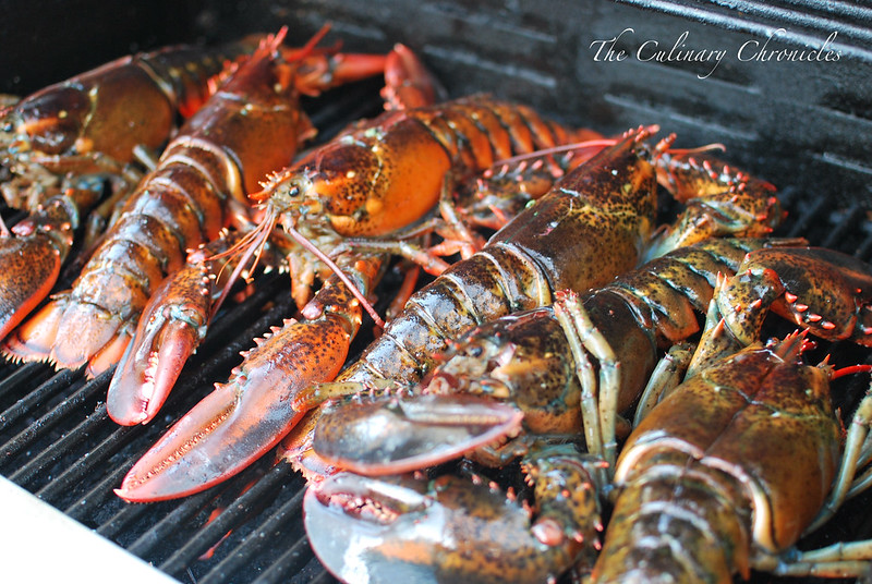 Grilled Lobster with Cilantro Chile Butter