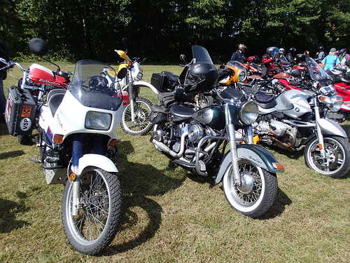 Honda Transalp XL600V and Suzuki DR350SE squeezed within a sea of bikes