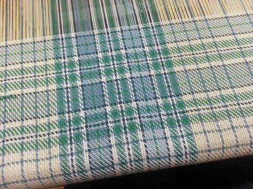 Handwoven plaid tea towel weaving
