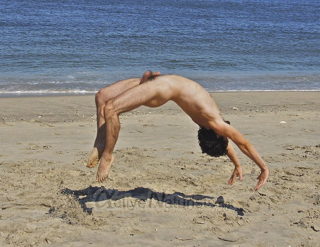 naturist 0007 gymnastics @ Gunnison Beach, Sandy Hook, NJ, USA