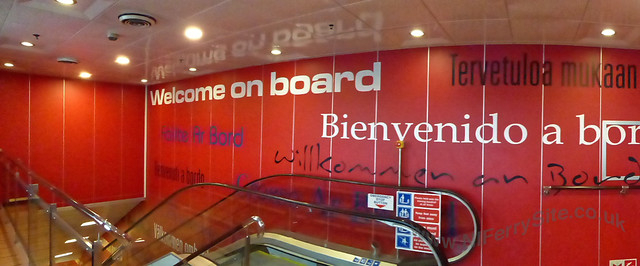 Foyer at the top of the escalator from the main vehicle deck, deck 5, Stena Mersey