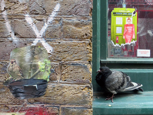 Birds, Pigeons and paste ups, Blackall Street, Shoreditch - July 2013