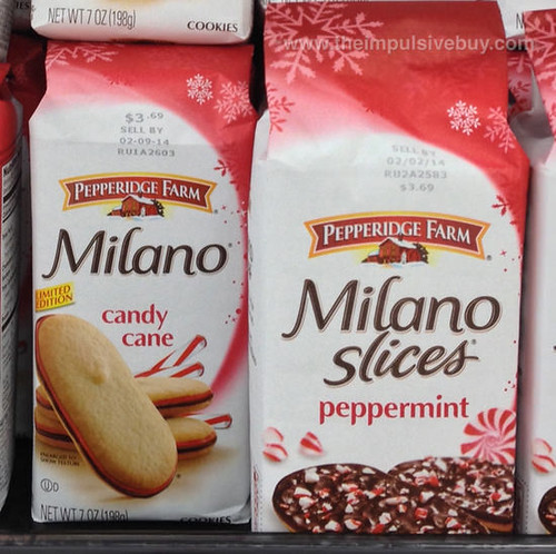 Pepperidge Farm Candy Cane Milano and Peppermint Milano Slices
