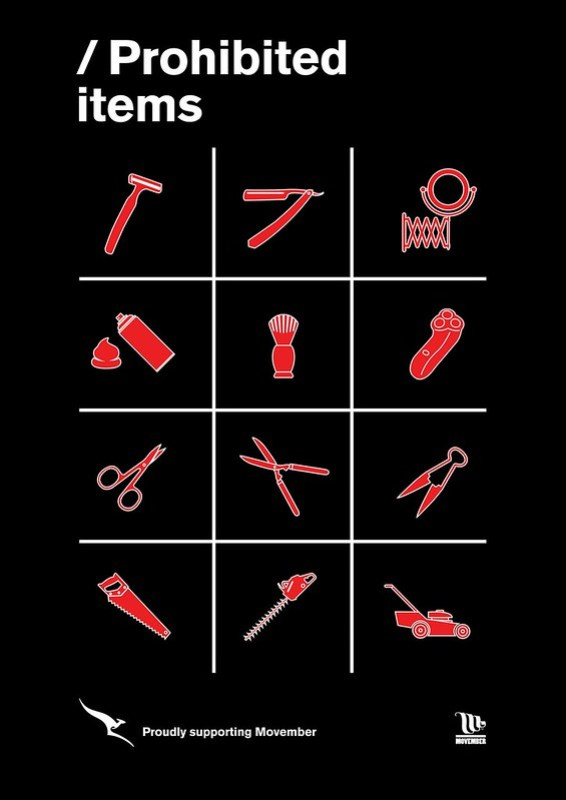 Qantas Prohibited Items Movember
