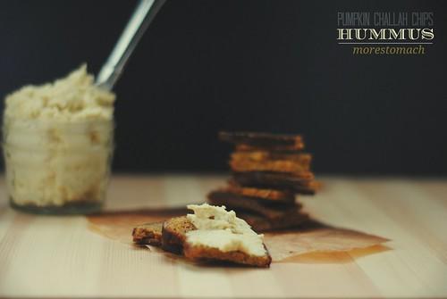 Pumpkin Challah Chips + Hummus
