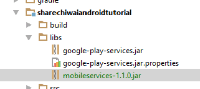 Windows Azure Mobile Services Path on Android Studio