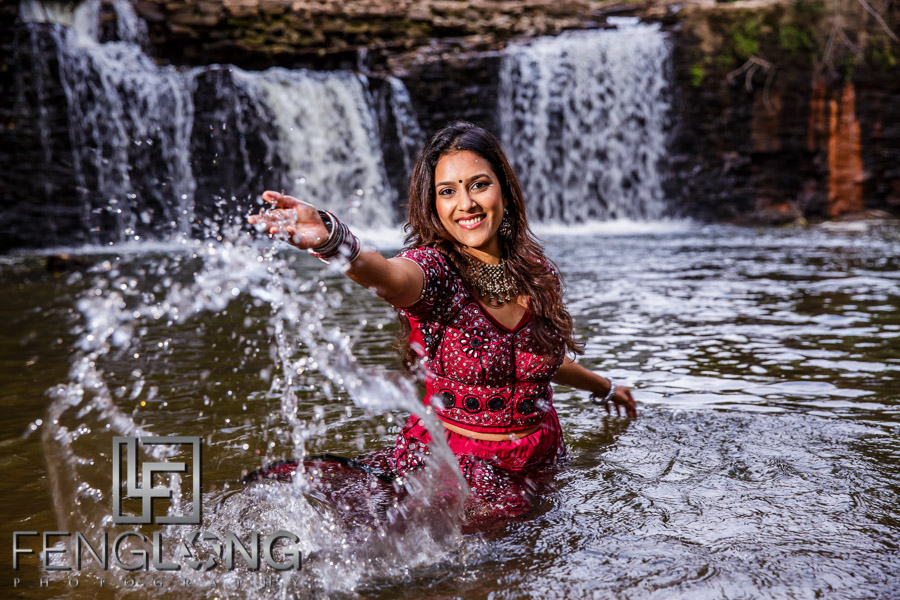 Indian bride in the water wearing a saree