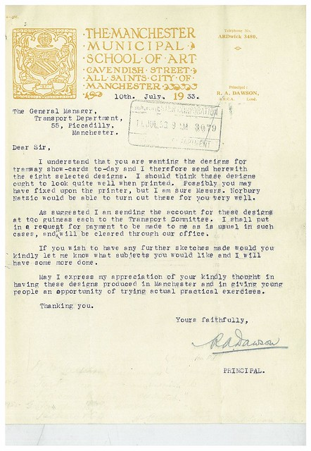 Letter from R. A. Dawson, Principal, to General Manager, Transport Department, Manchester Corporation, 10 July 1933