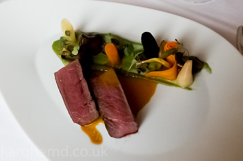 Saddle of roe deer, carrots, herbs, wild mushrooms