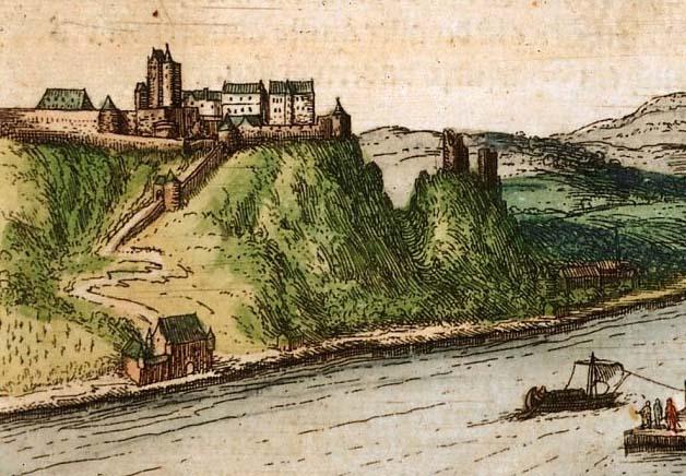 Ehrenbreitstein und Helfenstein. Ausschnitt aus der Stadtansicht von Braun & Hogenberg, 1573